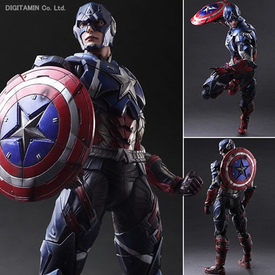 Variant Play Arts Kai - Marvel Universe: Captain America figure spring and autumn genuine leather men s casual shoes all match cowhide breathable sneaker fashion boots men casual leisure shoes