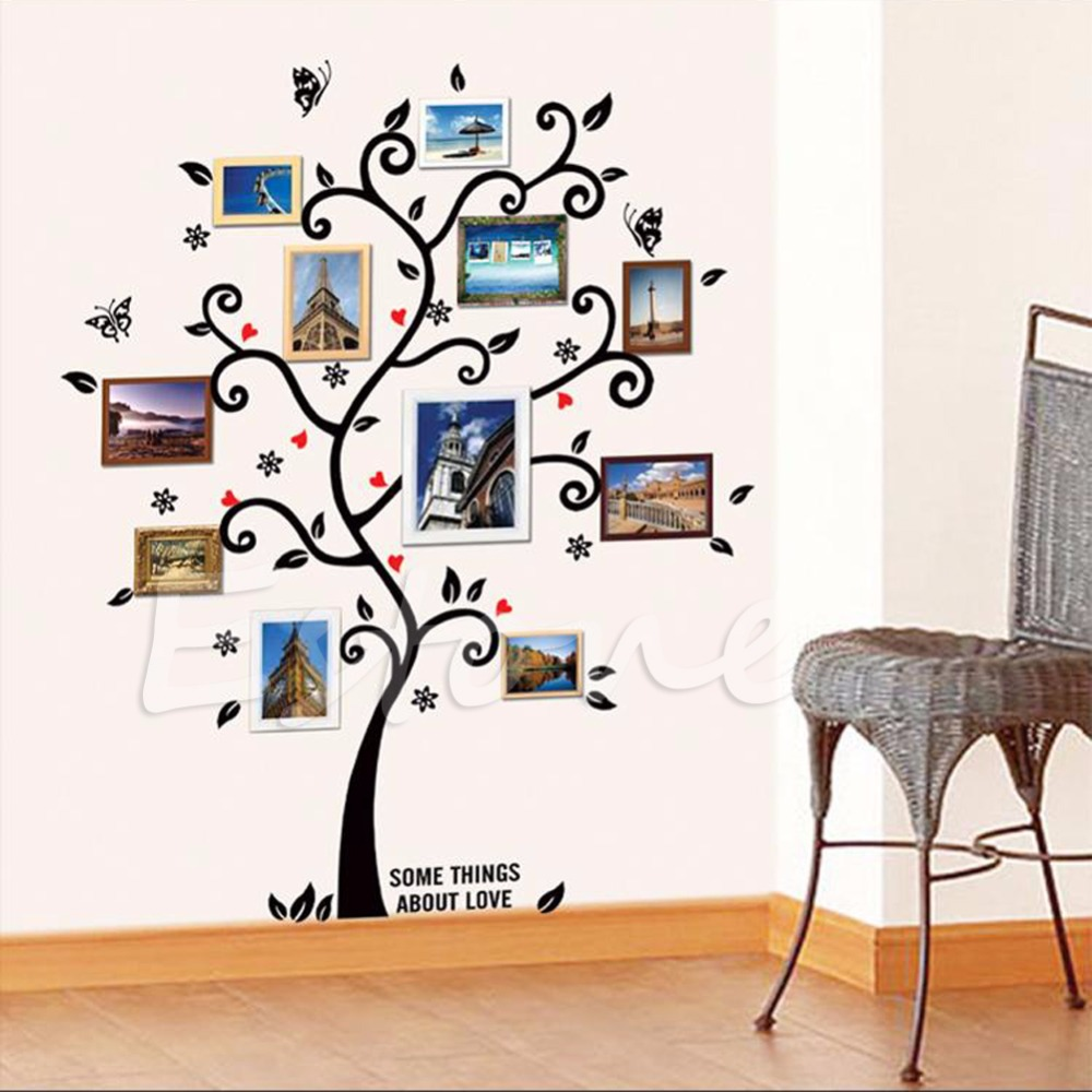 Wall sticker picture frames gallery craft decoration ideas compare prices on wall sticker picture frames online shoppingbuy diy family tree wall decal sticker large amipublicfo Choice Image