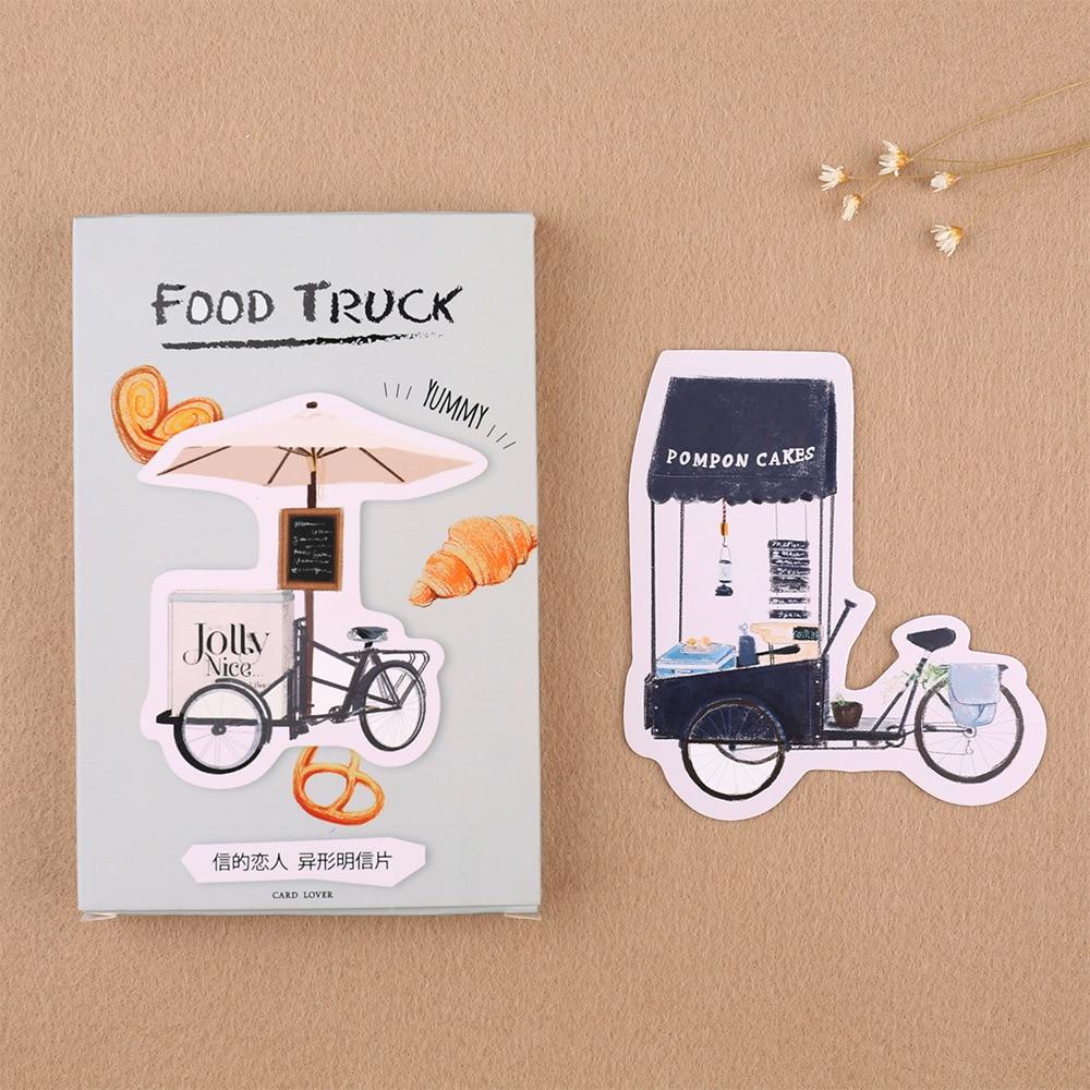 30pcs/lot FOOD TRUCK Cartoon Animals Kawaii Cartoon Postcards Cute DIY Envelop Gift Card Creative Bookmark