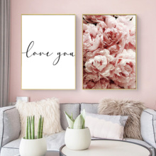 Flower Wall Art Peonies Posters and Prints Nordic Minimalist LOVE Quote Canvas Painting Botanical Picture Modern Home Decor