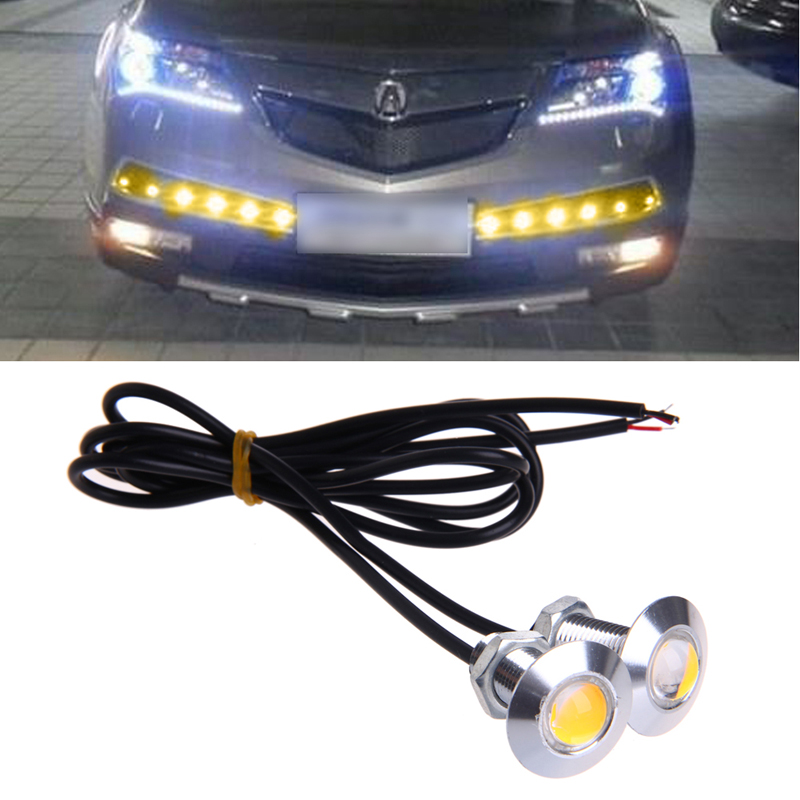 1 Pair DC 12V 23mm Eagle Eye LED Daytime Running DRL Light Car Auto Lamp Yellow new arrival a pair 10w pure white 5630 3 smd led eagle eye lamp car back up daytime running fog light bulb 120lumen 18mm dc12v