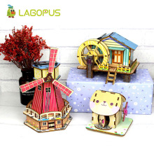 цена на lagopus Dutch Windmill Solar Powered Puzzle Toys Kids Science Educational DIY 3D Wooden Puzzle Model