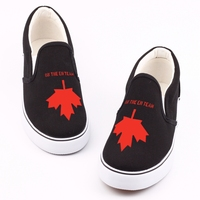 Fashion Red Maple Leaf Printed Canvas Shoes Women Loafers Funny Words Graffiti Slip On Lazy Shoes Outdoor Espadrilles Zapatos
