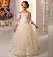 Princess Lace Flower Girl Dress Wedding Children Bridesmaid Communion A Line Three Quarter Shoulderless Long Girl Pageant Dress