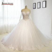 2018 new arrival vestidos de casamento Off Shoulder Long Sleeve Lace Applique Nude Tulle See Through Back Wedding Dress