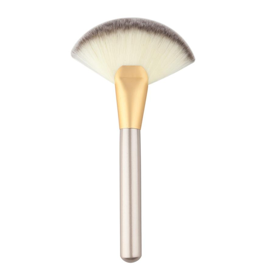 Beautiful and Stylish easy to carry Makeup Large Fan Goat Hair Blush Face Powder Foundation Cosmetic Brush new