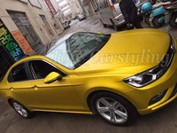 Gold like sunshine Matte chrome vinyl car wraps sticker with Bubble Free Car Covers for vehicle wraps 1.52x20m/roll