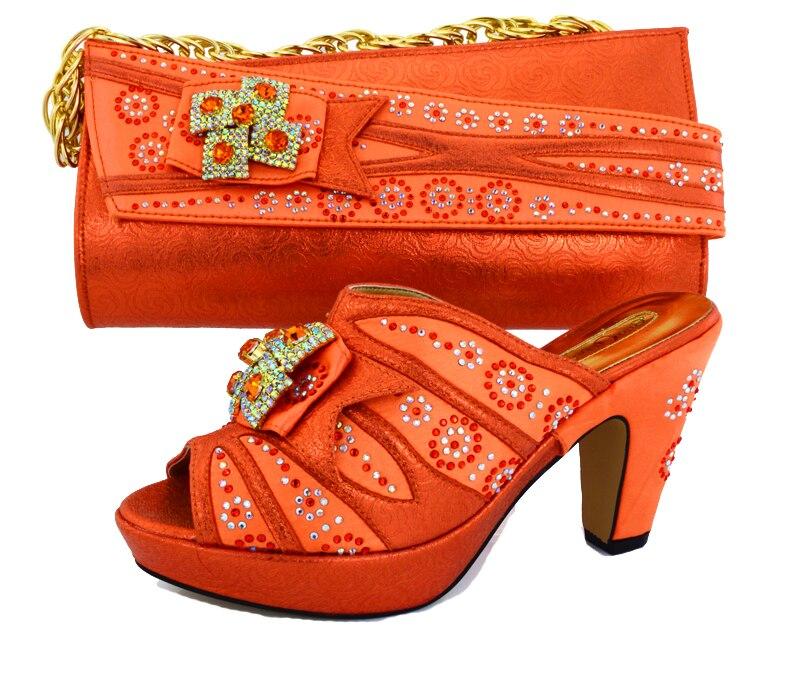 Высокий каблук 4 дюйм(ов) тапочки камнями розового цвета и цвета фуксии обувь соответствующие сумки вечерние сумочки-клатча sb8047 Orange итальян...