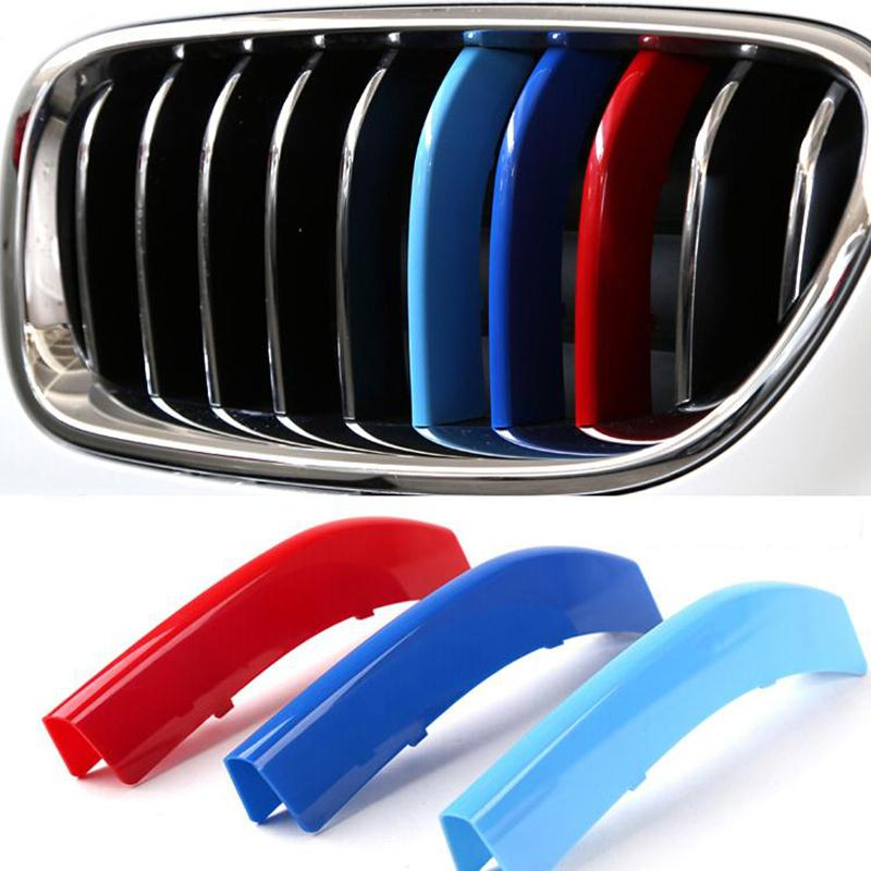 Car styling 3pcs/set 3D M Front Grill Grille Bumper Cover Trim Decoration Strips Sticker For BMW 3 5 Series F10 F11 2011-2013 stainless steel strips for toyota highlander 2011 2012 2013 car styling full window trim decoration oem 16 8