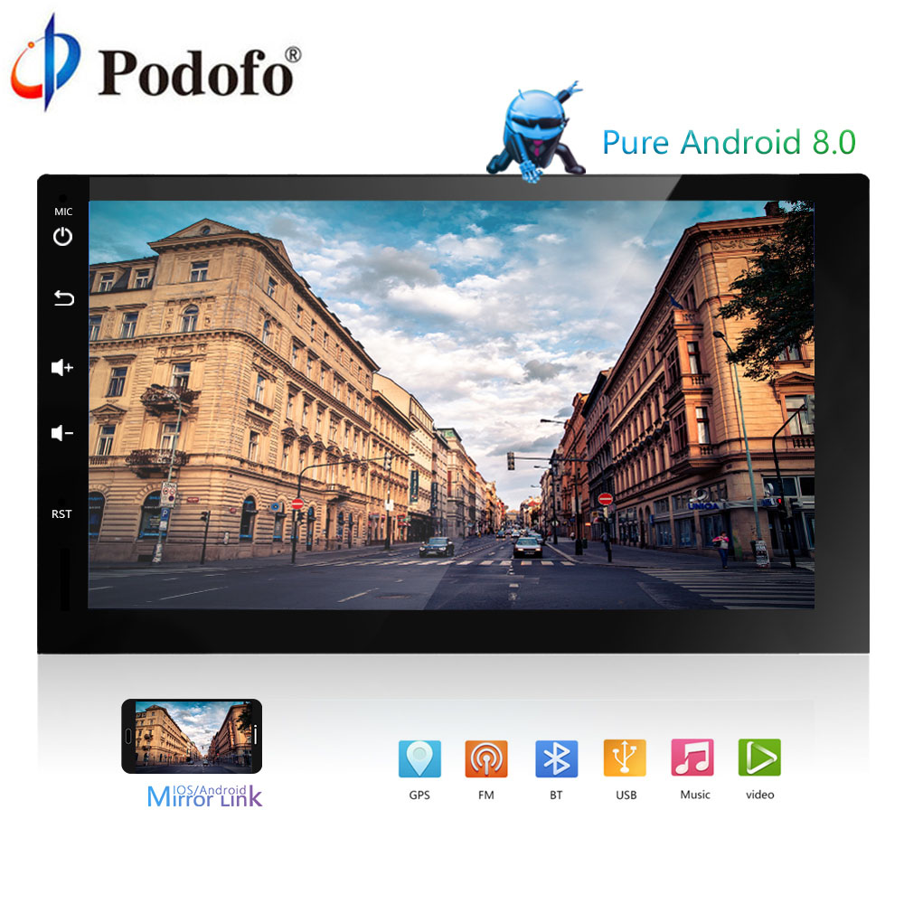 "Podofo Android 8.0 Car Multimedia Player 2 Din Car Radio 7"" GPS Navigation 4G+32G Bluetooth FM WiFi USB Car Audio Stereo Radio"
