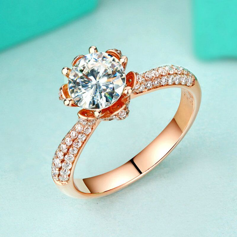 Image 3 - Real Charles Colvard Moissanite Engagement Ring For Women 1 Carat VS G Color Solid 14K 585 Rose Gold Simulated Diamond Accents    -
