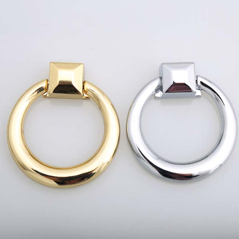 62mm modern simple fashion drop rings knobs shiny silver dresser kitchen cabinet handles pulls golden drawer