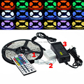 Best Price 5050 300 5M RGB LED Strip SMD 60led/m Waterproof + 44key IR Remote Controller + 12V 5A Power Adapter
