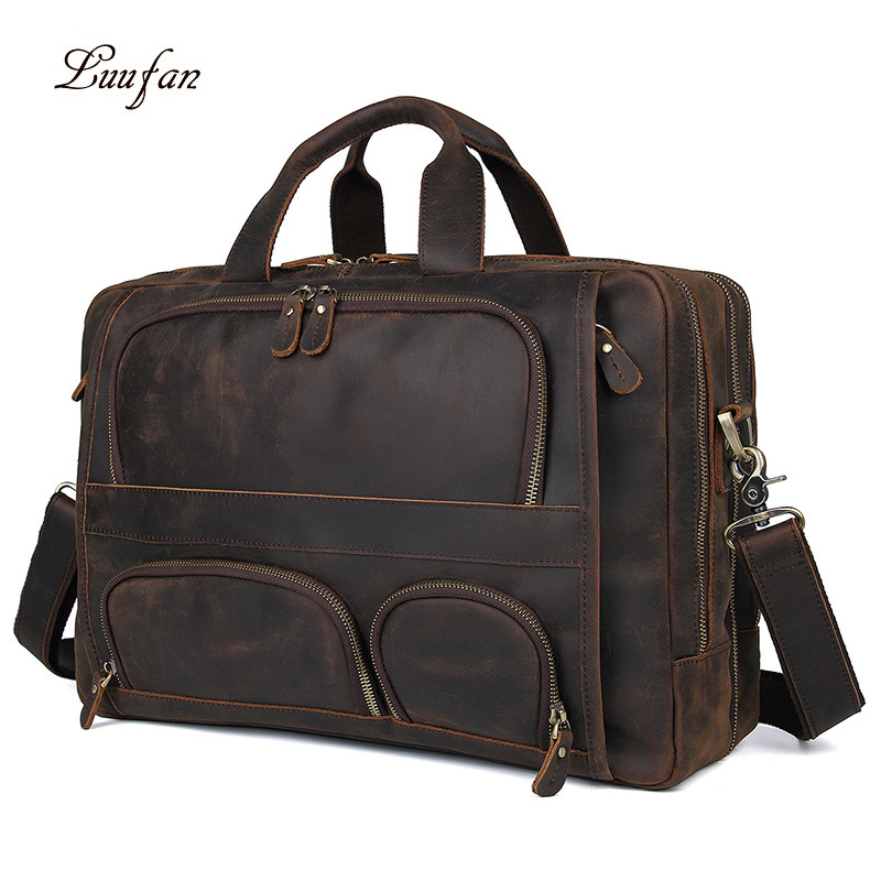 "Crazy Horse Genuine Leather Men Briefcase Multifunction 17"" Laptop Business Bag Tote Vintage Male Big Shoulder Bag Travel Duffel"