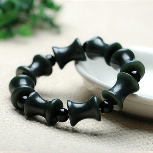 Natural Dark Green Hetian Jade Bracelet Bamboo Shape tube Hand String Bracelet Bangles Fashion Men Boy's Jade Jewelry