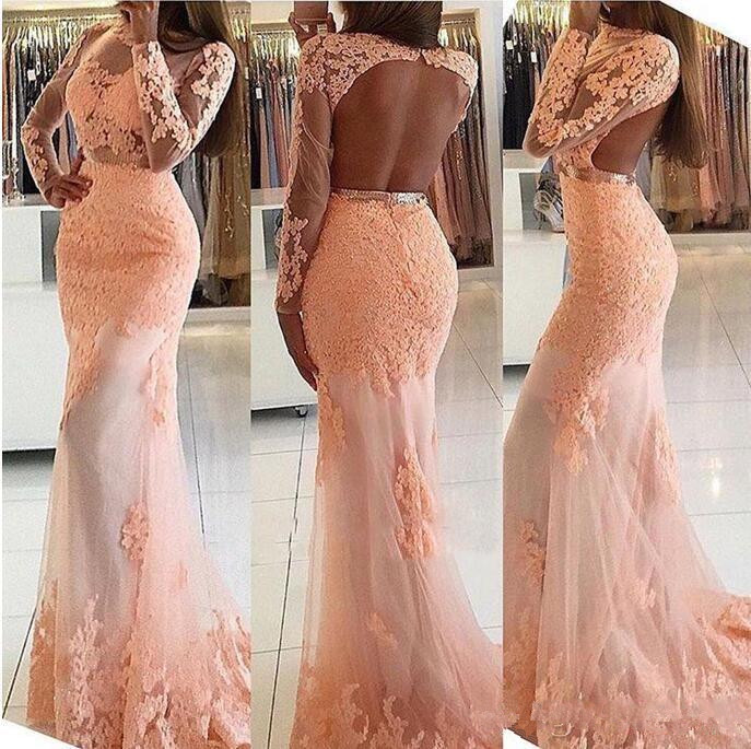 Long Sleeves Mermaid Evening gown 2019 high Neck Open Back Sweep Train Formal   dress   Blush Party Pageant Gowns   prom     dresses