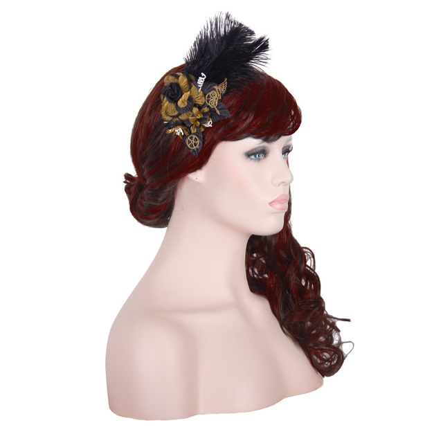 2016 New Steampunk Women Flower Hairpin With Wild Bird Feathers Red Brown Hair Pins Gothic Headwear Hair Accessories For Womens