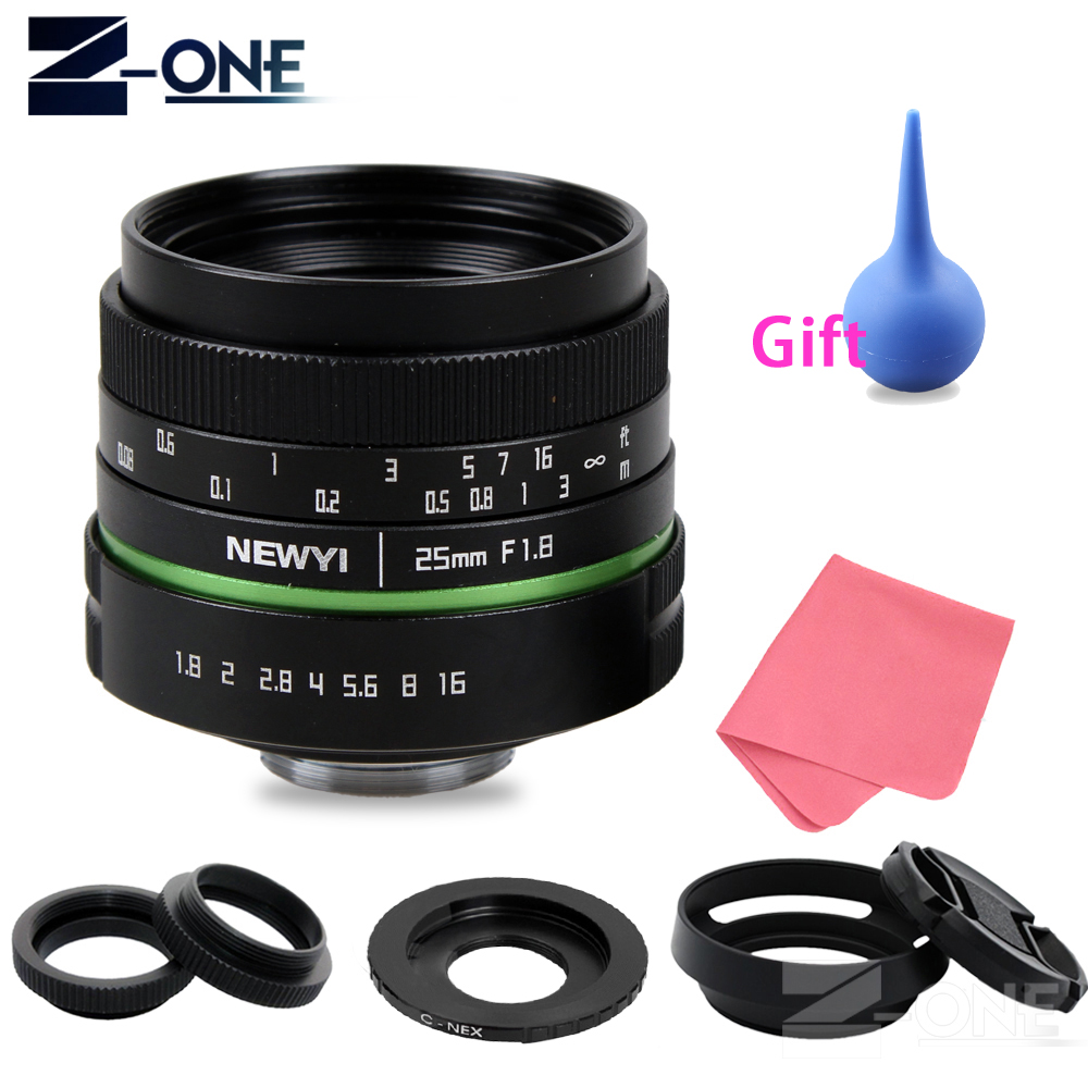 цена на 25mm F1.8 APS-C Manual Camera Lens+C Mount Adapter+Macro Rings Kit for Sony E Mount NEX 3N 5 5R 6 7 A6300 A6000 A5100 A5000