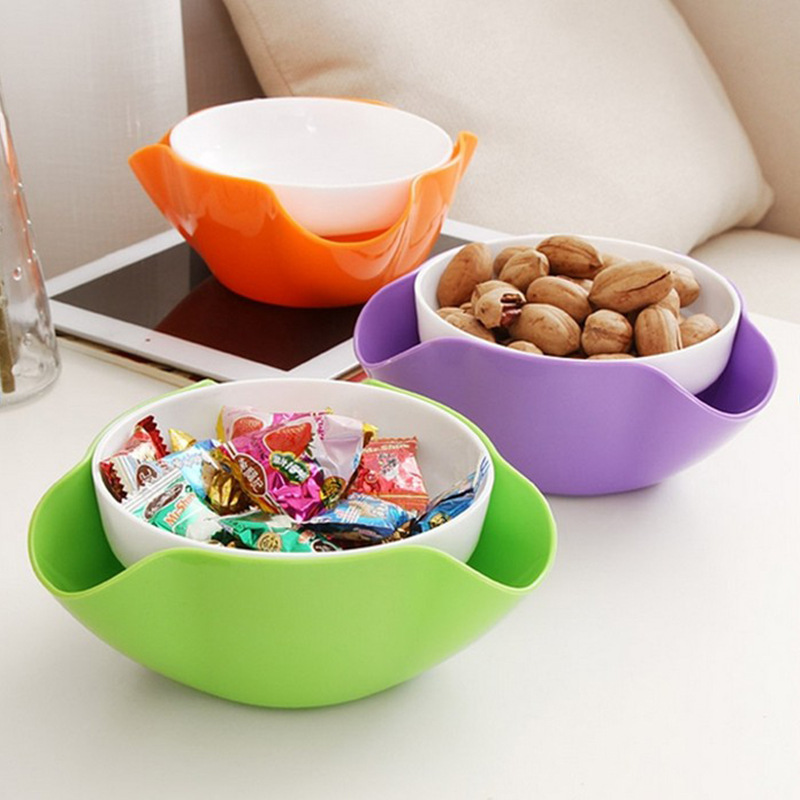 2 In 1 Fruit Compote Split Double Bowl Compote Candy Snack Nuts Box Holder Tray Dish Decoration Plate A