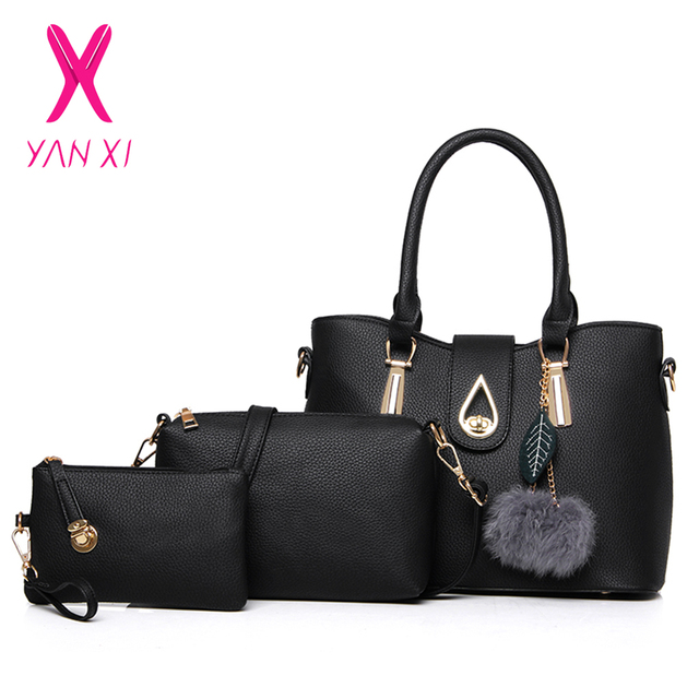 1ebc90d4e73a 3 Pcs Set Fashion Handbags Women Messenger Bags Female Purse Solid Shoulder  Bags Office Lady