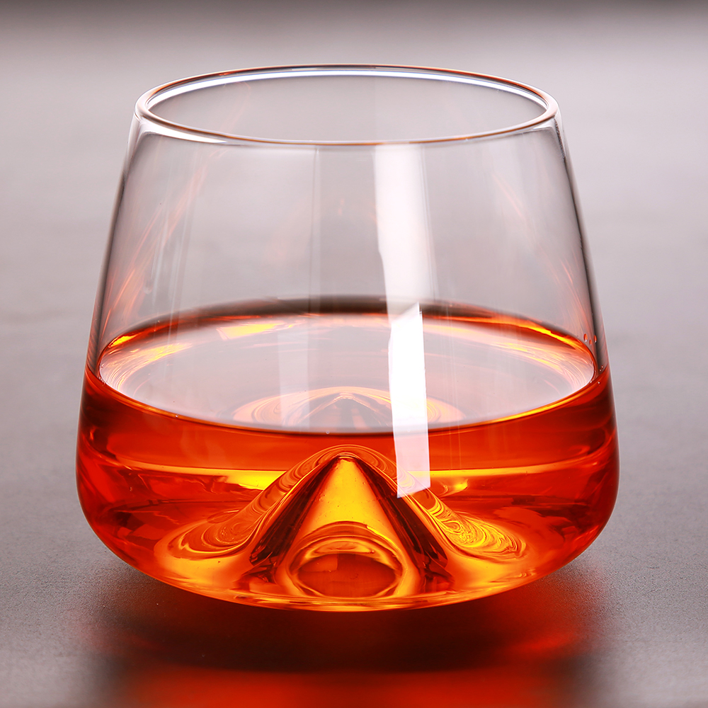Creative Concave Whiskey Glass Wine Whisky Beer Vodka Juice Drinking Cup Original Design Wine Glass for Home Bar Party 360ml