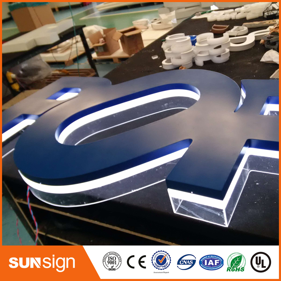 Indoor And Outdoor Custom Golden Color Backlit Led Letters