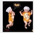 Baby photography props unisex yellow chef costume white hat+bodysuit 2pcs cute costume set studio photography clothing