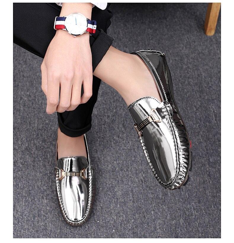 839e2cbf5e Scarpe casual in pelle Uomo Mocassini uomo di marca Glitter Driving Shoes  Mocassini in pelle verniciata per uomo taglia 38-47
