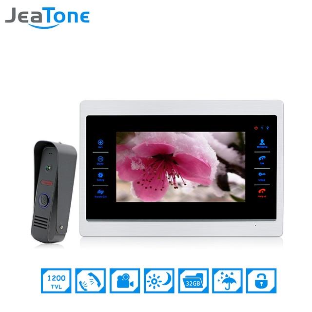 JeaTone 7 inch Color Video Door Phone Intercom Door Bell Door Speaker Hands-free Touch Button Indoor Monitor IR Doorbell Camera