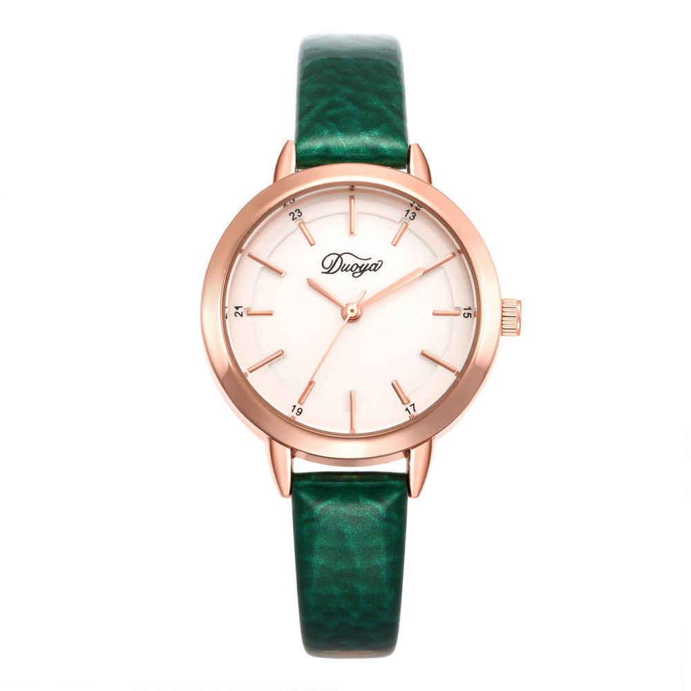 10 цветов новая мода Роскошные простые с золотым циферблатом кожаные женские часы