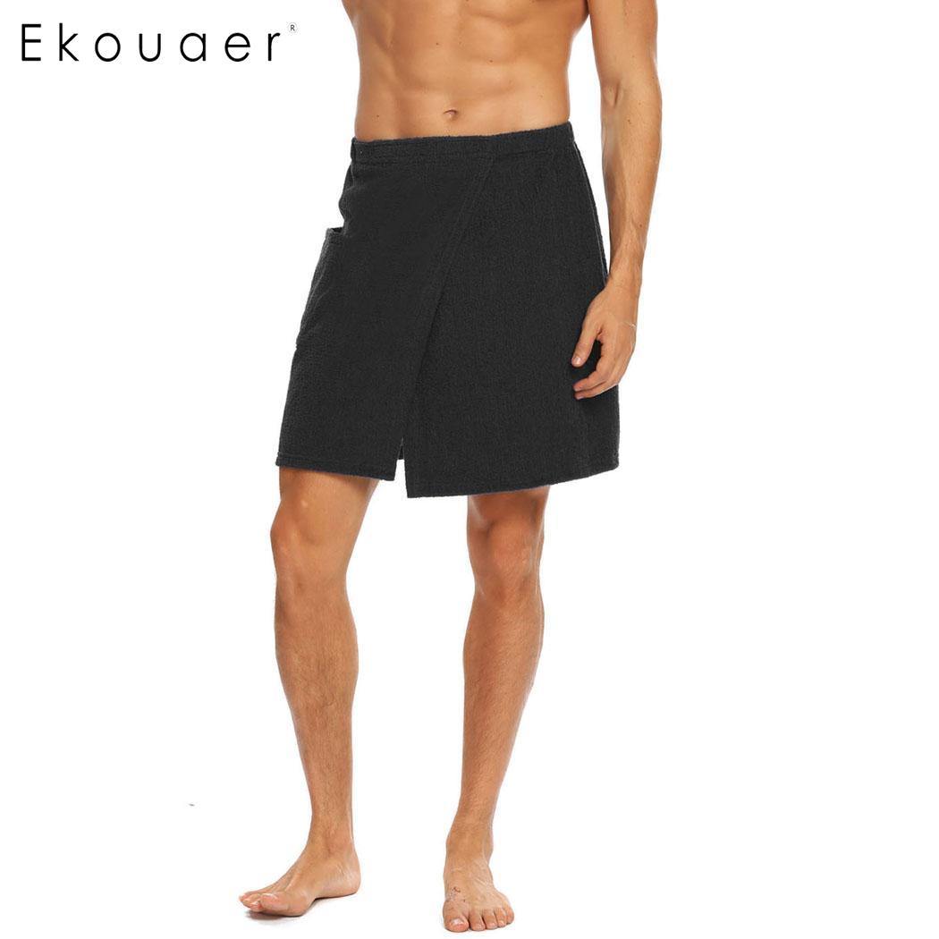 Ekouaer Terry Wrap Shower Fastening Tape Men Velour Bath Towel