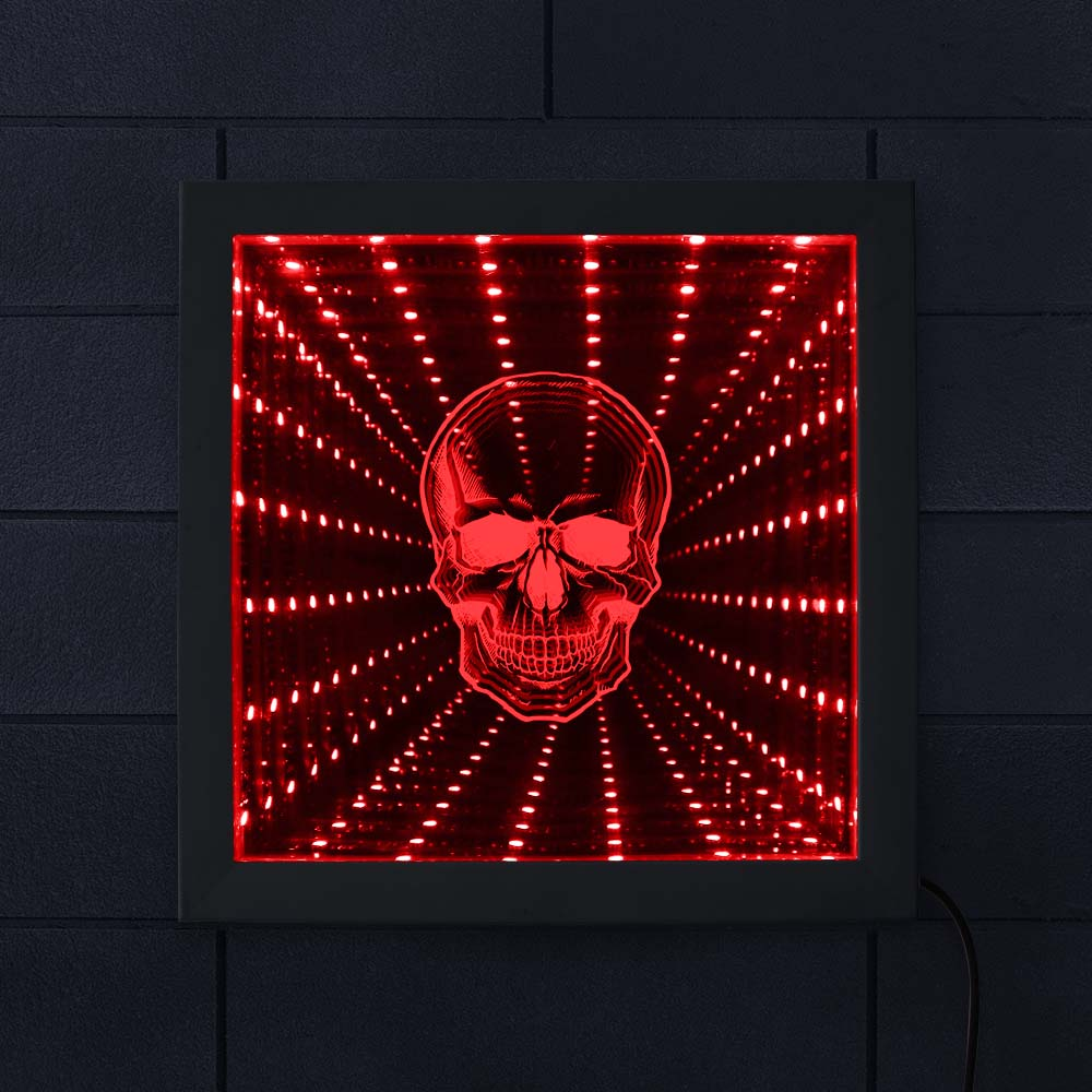 LED Infinity Mirror Gothic Dragon Optical Illusion Color Change Light Wood Frame