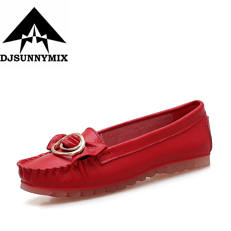 DJSUNNYMIX Brand Factory Outlet NEW Handmade Genuine Leather Shoes Women Retro Soft Bottom Flat Shoes Ballet Flats Women Loafers new national wind flowers handmade genuine leather shoes women retro soft bottom flat shoes summer canvas ballet flats k62