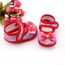 summer baby shoes Soft Crib Shoes Newborn First walkers Baby Girls Printing Bow Butterfly Prewalker Soft Sole Single shoes(China)