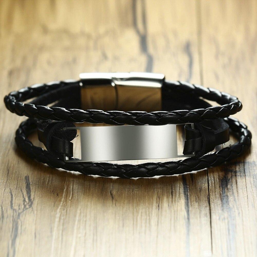 Vogue Triple Wrap Braided Leather Cord Custom ID Tag Bracelet for Men Cuff Bangle Wristband Braslet Brackelt Male Jewelry