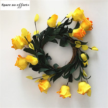 Yellow Simulation Rose Wreaths Floral Hoop Garland Wedding Decoration Household Wall Hanging Flowers(China)