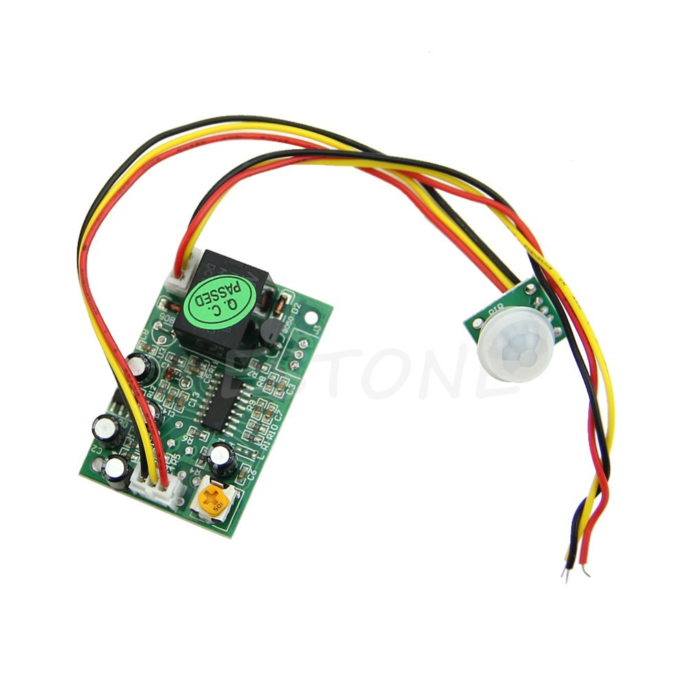 DC12V PIR IR Pyroelectric Infrared Module Adjust Relay Output Human Body Sensor smoke sensor module w relay output green black