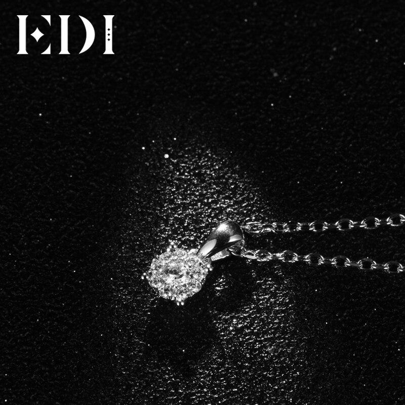 EDI Classic Real Natuurlijke Diamanten Hanger Ketting Voor Vrouwen 18K Solid White Gold Diamond Met 16' Ketting Ketting Wedding sieraden - 4