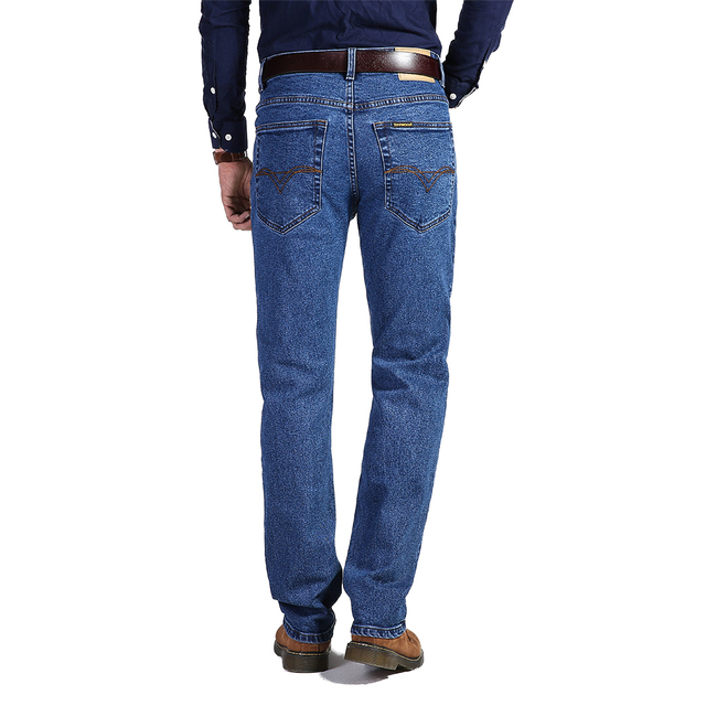 TIGER CASTLE Spring Autumn High Waist Classic Mens Jeans Casual Cotton Straight Stretch Brand Jeans Thick Denim Overalls Pants
