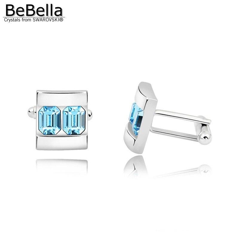 BeBella 5 цветов запонки с кристаллами сделаны с элементами Swarovski для подарка на День отца - Окраска металла: Aquamarine