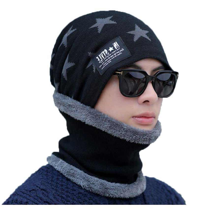 Winter Hat And Scarf Set For Women Men Cap Ring Scarves 2 Pcs Suit Star Print Jacquard Knitted Beanie Cap Adult Neck Warm Wear