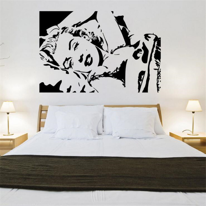 Classic Marilyn Monroe Vinyl Wall Sticker Monroe Sexy Sleeping Position Wall Decals For Bedroom Living