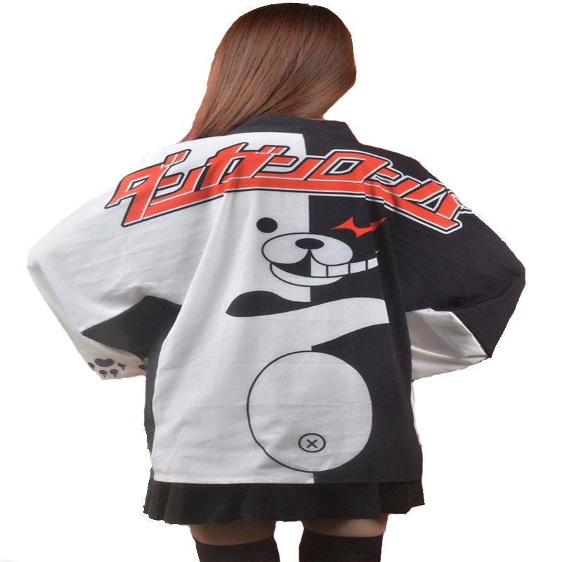 Anime Danganronpa: Trigger Happy Havoc Cosplay Kimono  Cute Monokuma Cosplay Costumes  Haori Chiffon Mantle  T27460