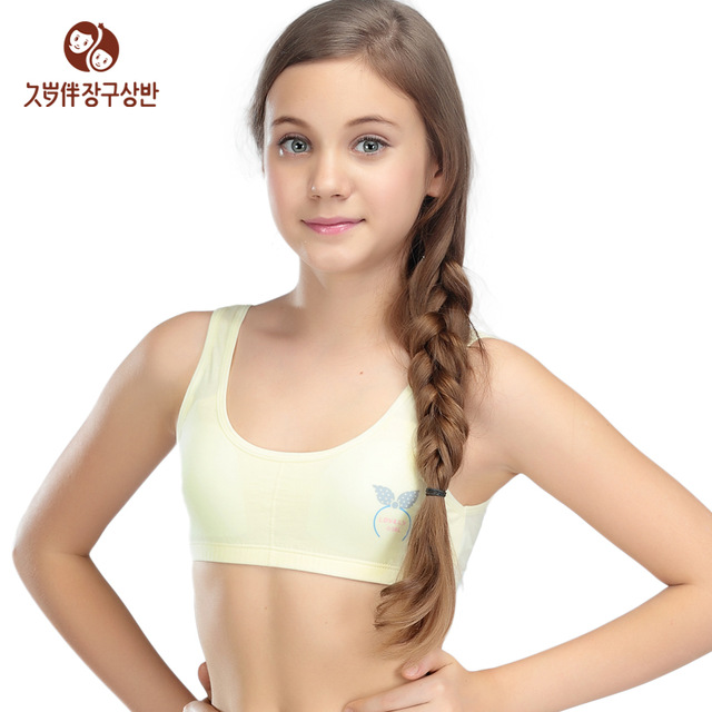 Small Teens Young Girl Underwear Cotton Small Vest Wireless Teenagers Training .