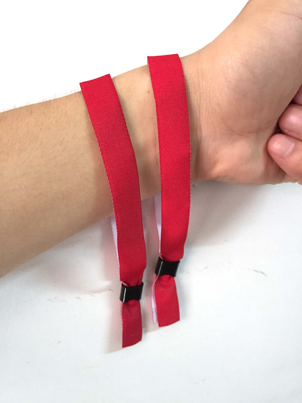50pcs Red Color Stock Blank Stain Fabric Woven Entrance Wristbands For Wedding Sports Party And Any Concert Events In Ribbons From Home Garden On