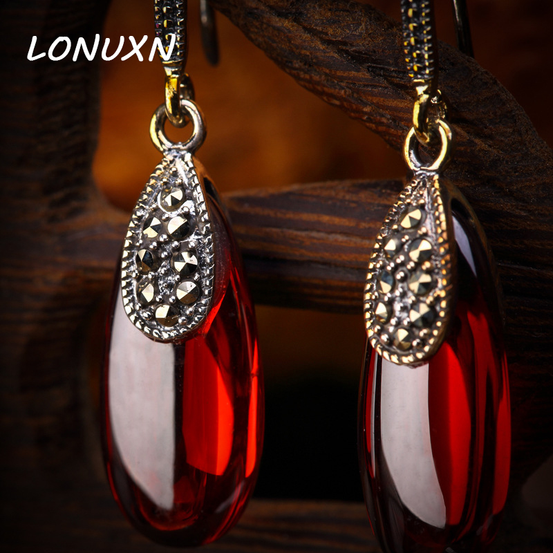 A pairs 2 colors 925 Sterling silver women jewelry Natural semi-precious stones Garnet Earrings green red Lady girlfriend gift 925 sterling silver jewelry natural semi precious stones retro yellow chalcedony earring classical retro girlfriend gift