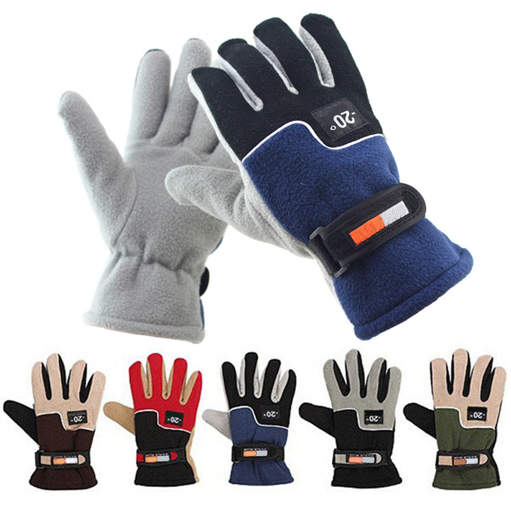 1 Pair Polar fleece Winter Windproof Motorcycle font b Gloves b font Men Winter Warm Fleece