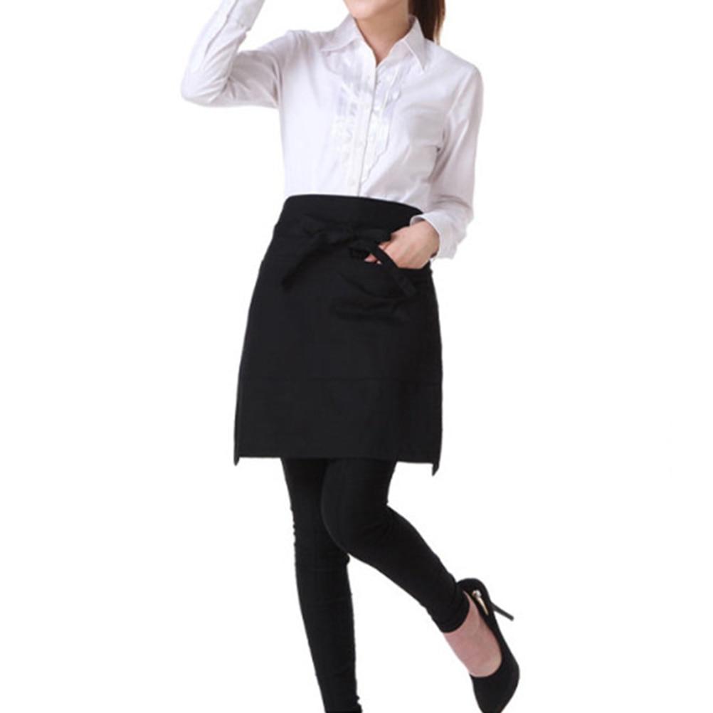 White apron meals - Universal Unisex Women Men Kitchen Cooking Waist Apron Short Apron Waiter Apron With Double Pockets