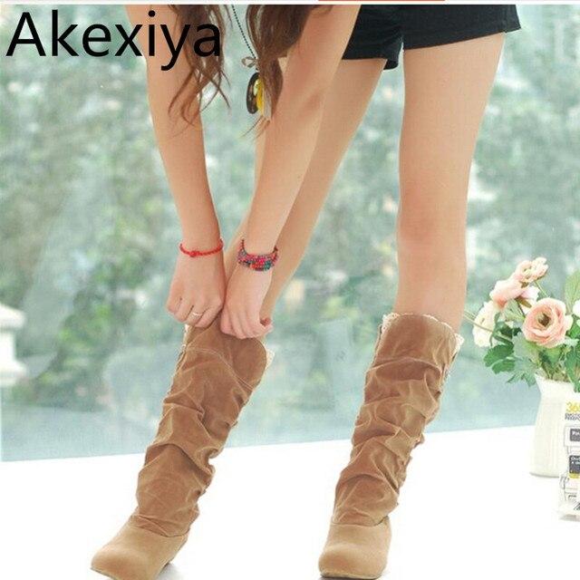Akexiya 2017 New Fashion Spring Autumn Casual Shoes Princess Sweet Women Boot Stylish Flat Flock Shoes Fashion Mid-calf Boots