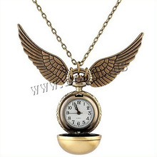 Harry Potter Golden Snitch Watch Pocket Watch Necklace Steampunk Quidditch Pocket Clock(China (Mainland))